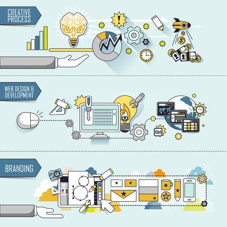 development process: business concept: creative process-web design and development-branding in thin line style