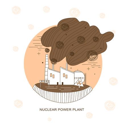 thermal power plant: planta de energ�a nuclear en el estilo de l�nea delgada Vectores
