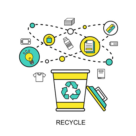reprocess: recycle concept: recycling bin with reusable materials in flat line style Illustration