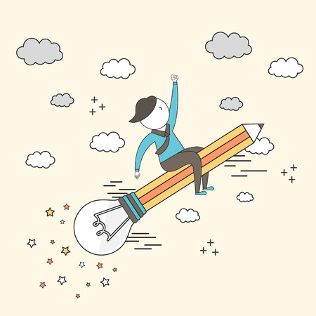 economic: future growth concept: businessman riding flying bulb pencil to the sky in line style
