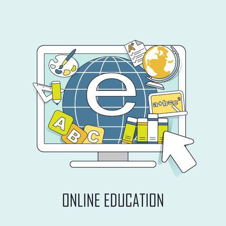 educaci�n en l�nea: concepto de educaci�n en l�nea: recursos saltando fuera de la computadora en el estilo de l�nea de aprendizaje Vectores