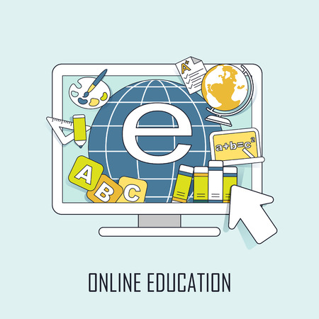 online education concept: learning resources jumping out from computer in line style Vector