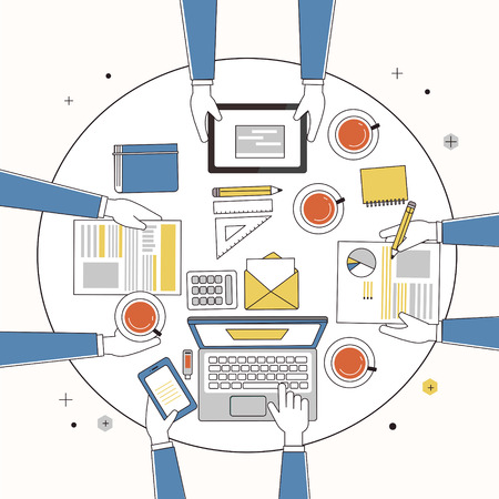 business meeting computer: working place of creative team in thin line style