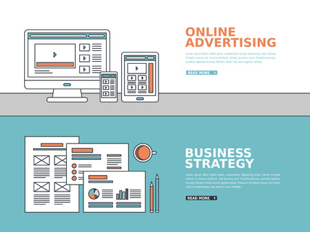 optimization: business advertising banner in thin line style
