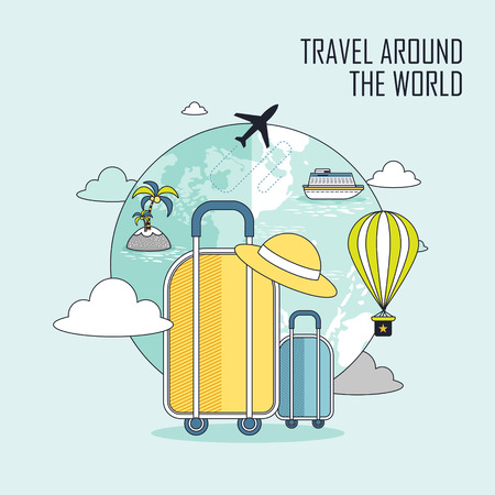 route map: travel around the world concept: luggage and the earth in line style