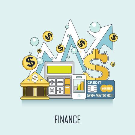 cofre del tesoro: concepto de finanzas: elementos de banca en línea de estilo