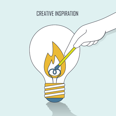 thin bulb: creative inspiration concept: a hand lighting up a big bulb in line style