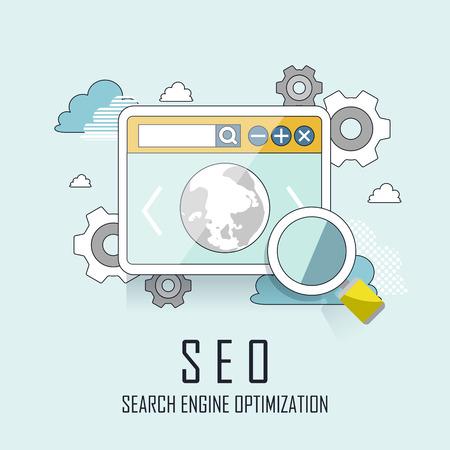 SEO processo de otimização de motor de busca website no estilo linha fina