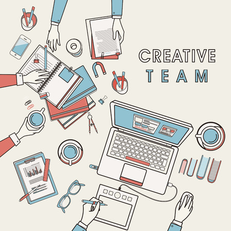 working place: working place of creative team in flat line design Illustration
