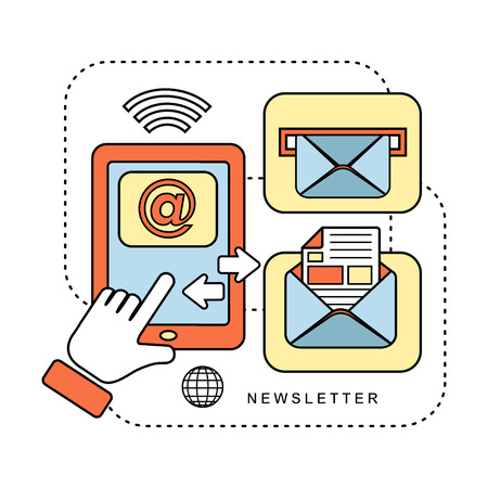 newsletter concept: ready to send an e-mail in line style Illustration