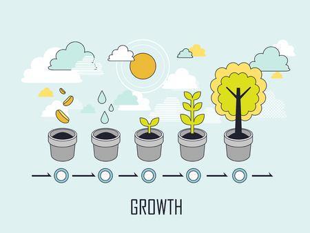 concepto de crecimiento: el creciente proceso de un árbol en el estilo de línea