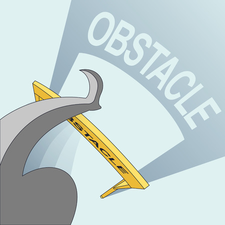 obstacle: success concept: jumping across obstacle in line style
