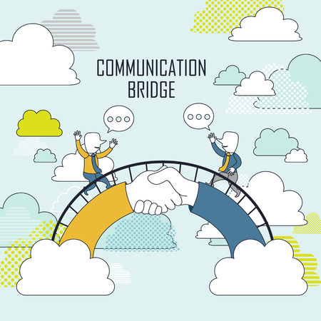 cooperation concept: two businessmen on communication bridge in line style