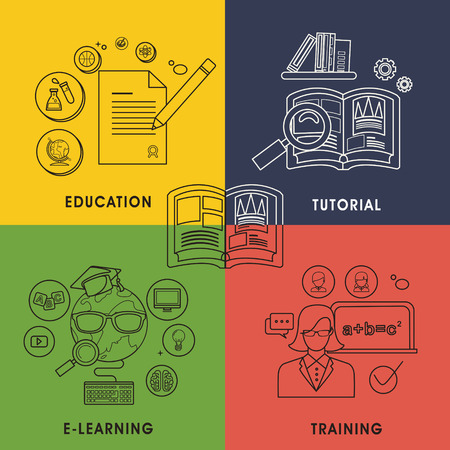 retraining: education and learning concept graphic in line style