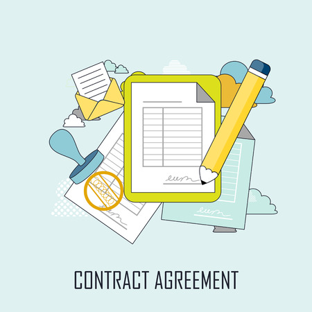 contract agreement concept: documents and pen in thin line style Vector