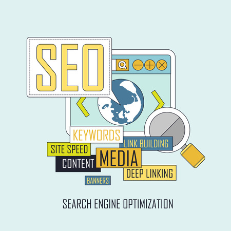 SEO website searching engine optimization process in thin line style