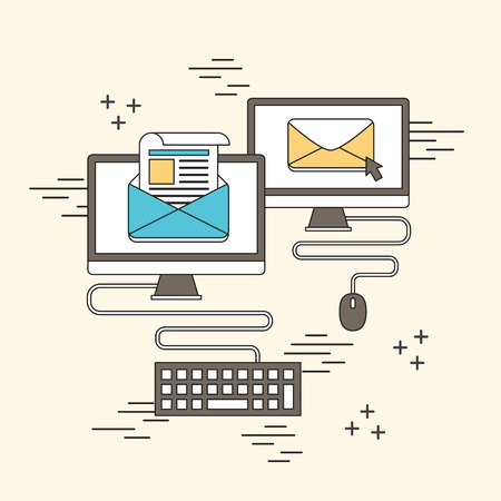 periodical: newsletter concept: e-mail and computer in line style Illustration