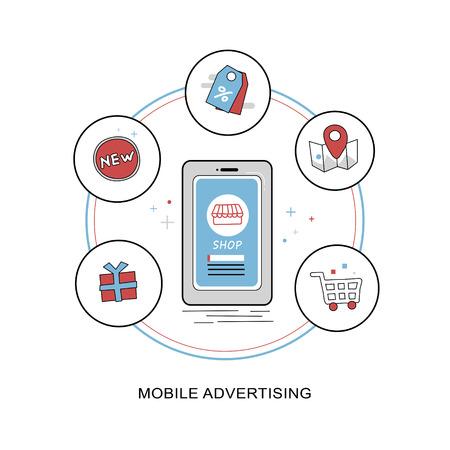 mobile advertising: mobile advertising concept in flat thin line design Illustration