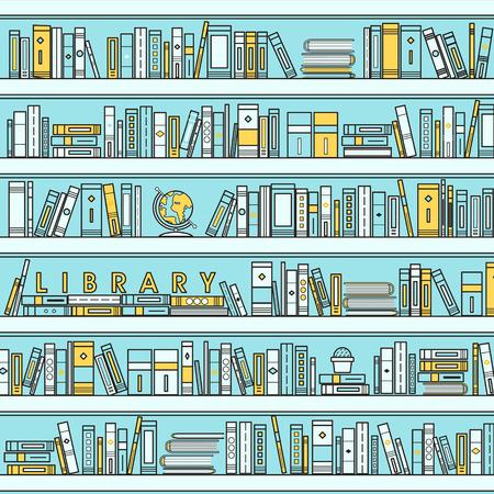 bibliotheek scene illustratie in vlakke lijn stijl Stock Illustratie