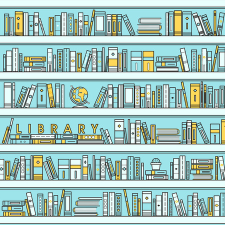 library scene illustration in flat line style 向量圖像