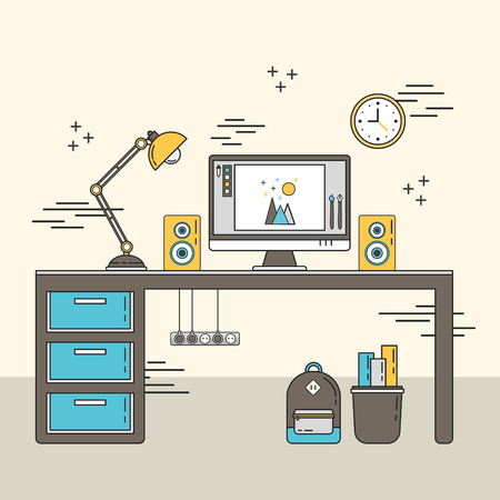 place of work: personal workplace scene in flat line style