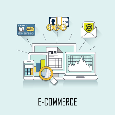 e money: e-commerce concept: online deal in line style