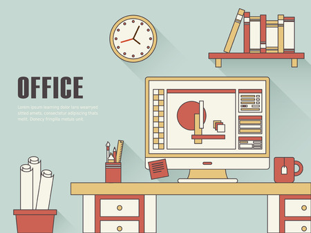working place: interior of working place concept in thin line style Illustration