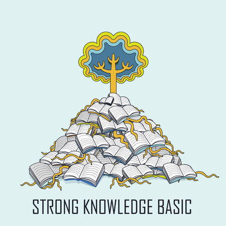 knowledge concept: knowledge concept: a tree grows up from a pile of books in line style