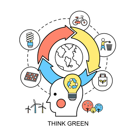 think green: concepto de la ecolog�a: piense el verde en el estilo de l�nea plana