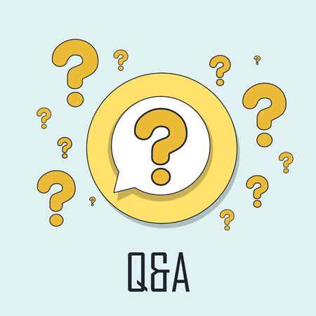 control de calidad: Q & A concepto de estilo de línea delgada plana
