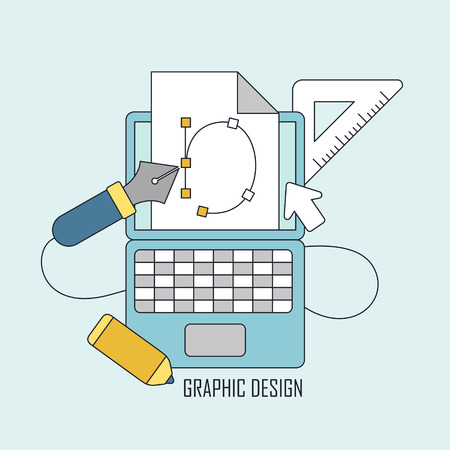 design tools: graphic design tools in thin line style Illustration