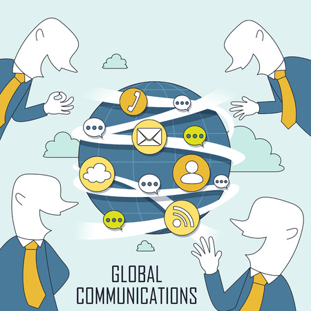 communication metaphor: global communication concept in thin line style Illustration