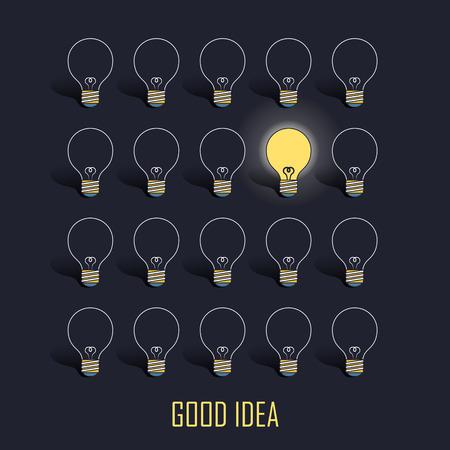 lighting bulb: good idea concept: lighting bulb in line style over black background