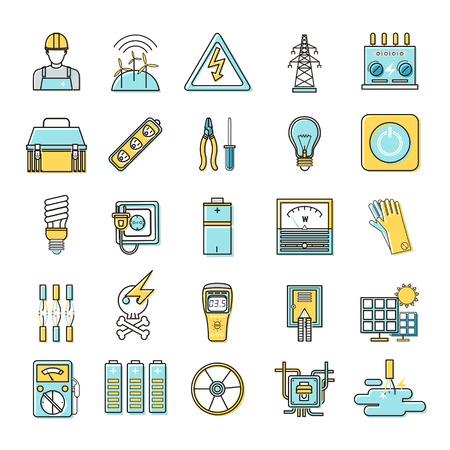 energia electrica: electricidad iconos relacionados con la línea plana establecen sobre fondo blanco