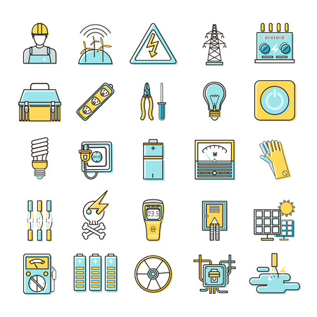 voltmeter: electricity related flat line icons set over white background Illustration