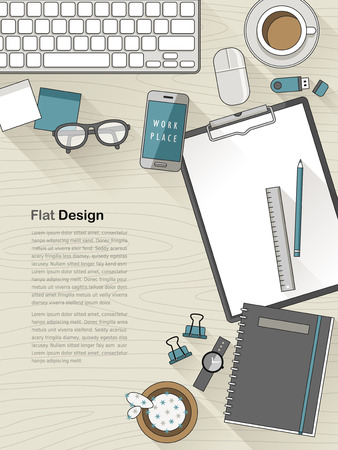 training computer: top view of flat design workplace in thin line style