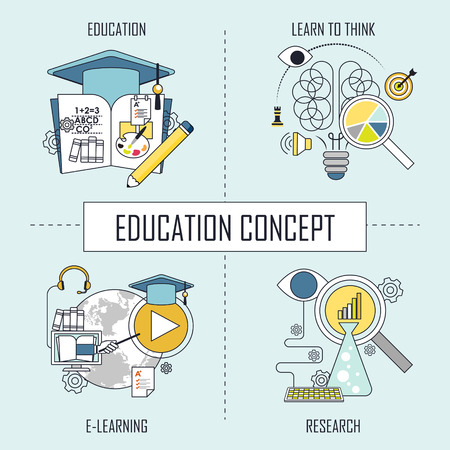 education concept: learn to think-e learning-research in line style Illustration