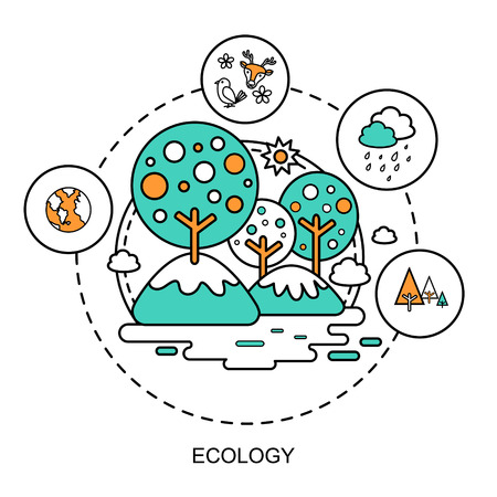 reprocess: ecology concept: beautiful environment in flat line style Illustration