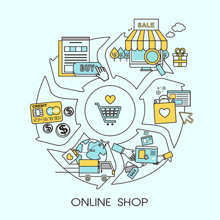 online shopping: online shopping process in flat line style Illustration