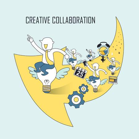 창조적 인 협업 개념 : 선 스타일에 큰 노란색 화살표 전구 비행에 앉아 사업가