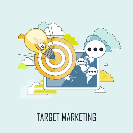 lighting bulb: target marketing concept: a lighting bulb flying to a target in line style