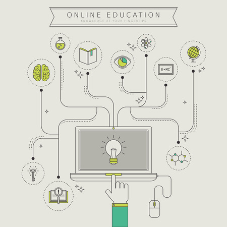 network and media: online education concept in thin line style Illustration