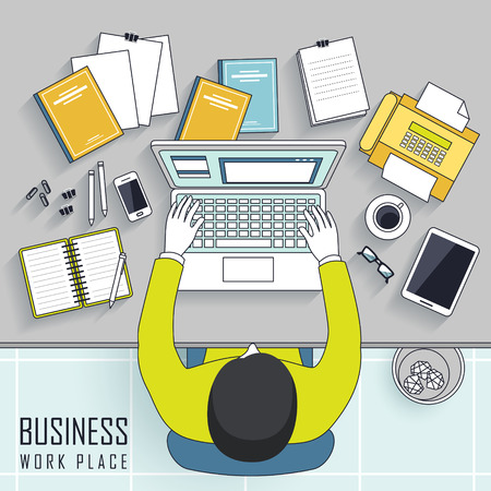 illustration people: top view of business workplace concept in line style