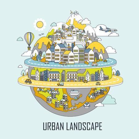 stedelijk landschap concept: aantrekkelijke stad in lijn stijl Stock Illustratie