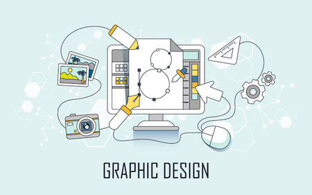 graphic design concept: computer and design elements in line style Illustration