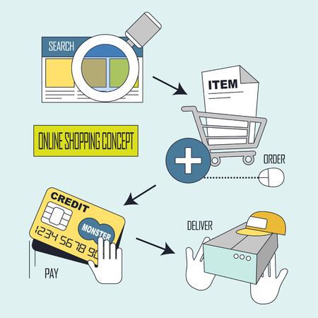 online shopping: online shopping concept: shopping process in line style Illustration