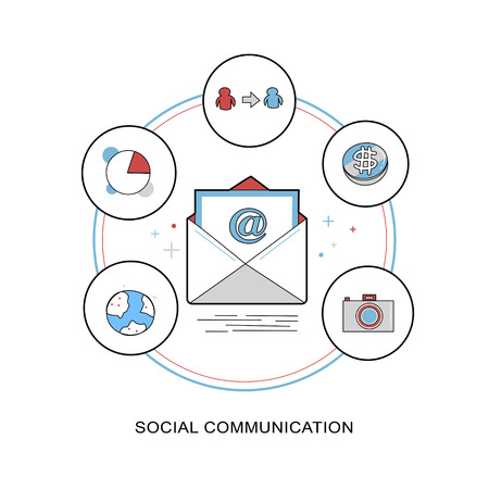 communication concept: social communication concept in flat thin line design