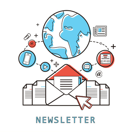 rss sign: newsletter concept: ready to send an e-mail in line style Illustration