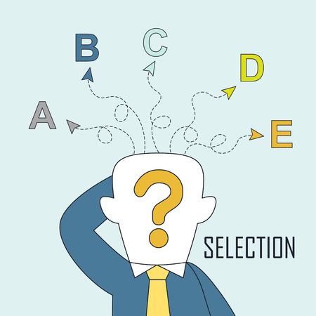 confundido: selección concepto: un hombre es confundido por las diferentes opciones en el estilo de línea