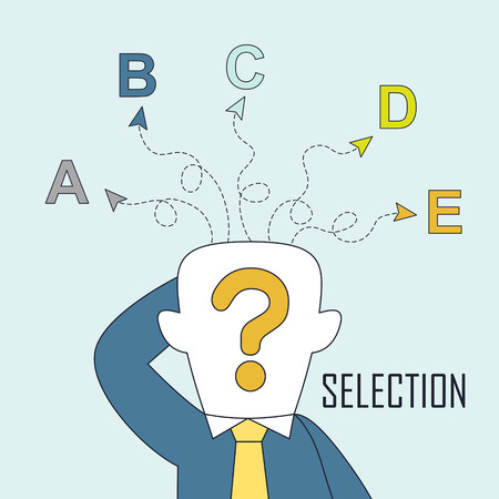career choice: selection concept: a man is confused by different choices in line style Illustration